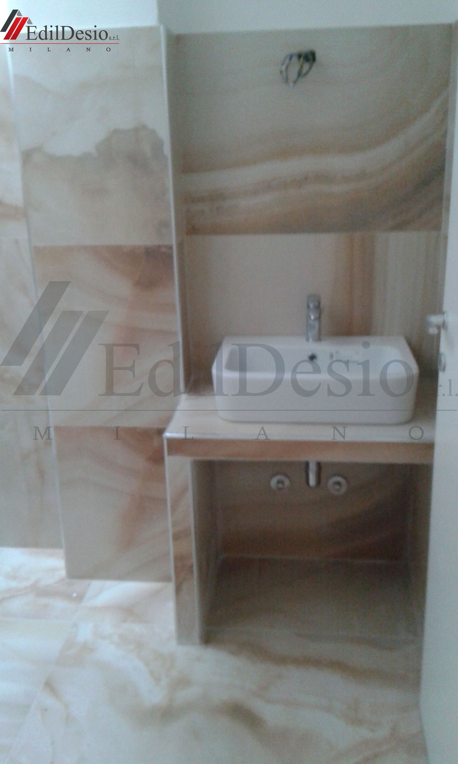 lavandino bagno su piano in muratura milano
